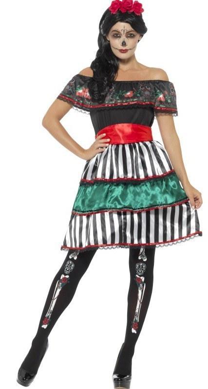 Plus Size Day of the Dead Senorita Doll Costume