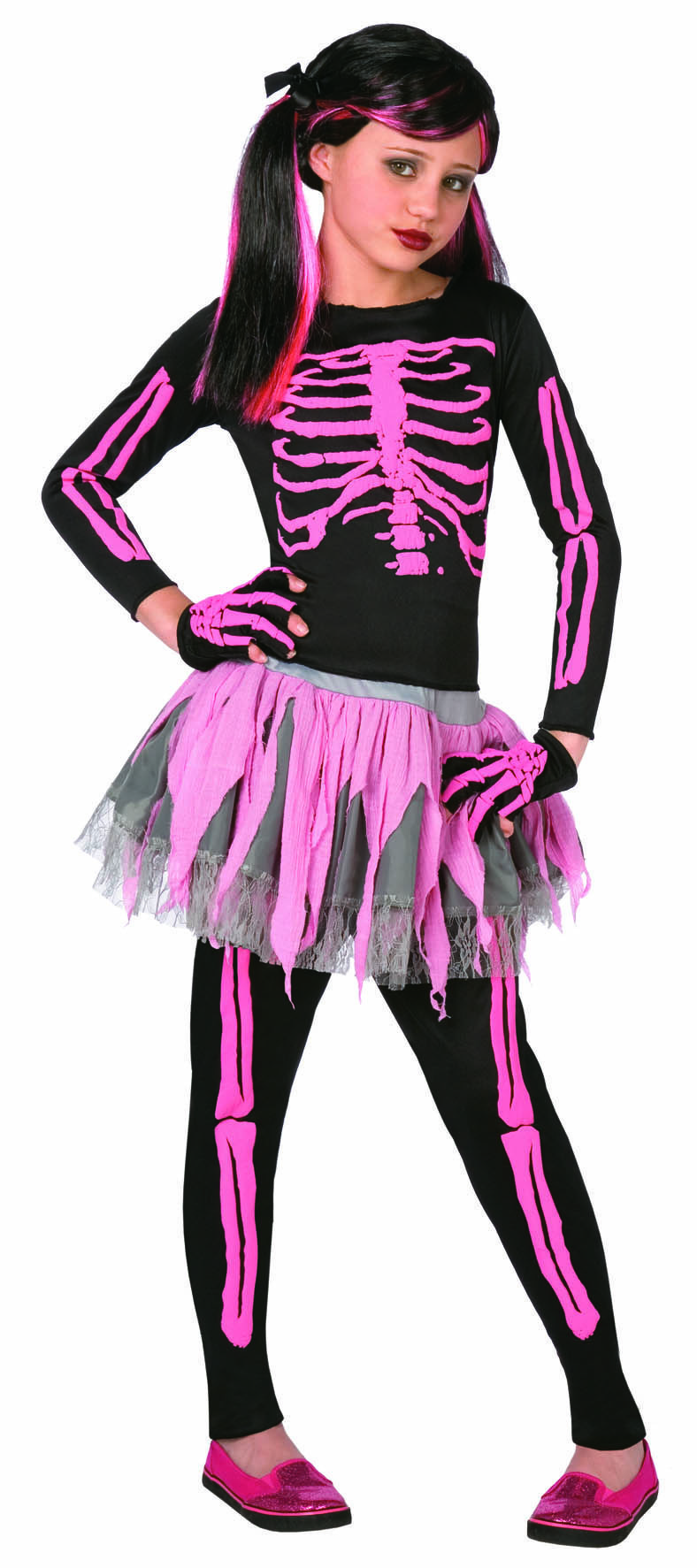 Girls Pink Skeleton Costume