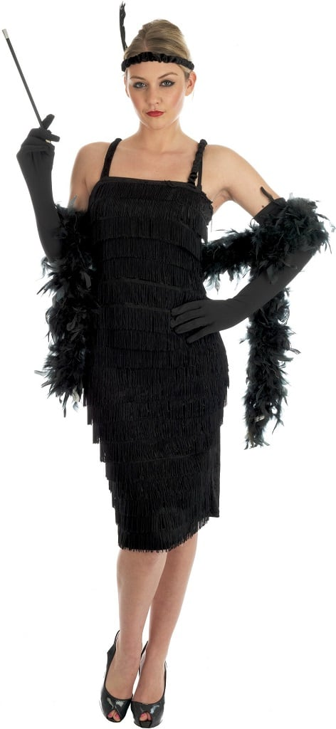 Roaring 20 s ladies costume is a fabulous faux velour dress with