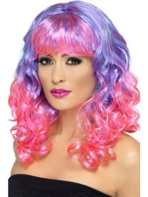 Army Tanks For Sale >> Curly Divatastic Purple & Pink Wig With Fringe