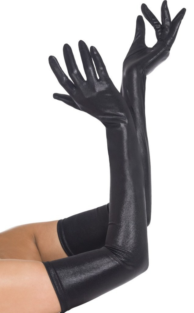 Home costume accessories wet look black gloves