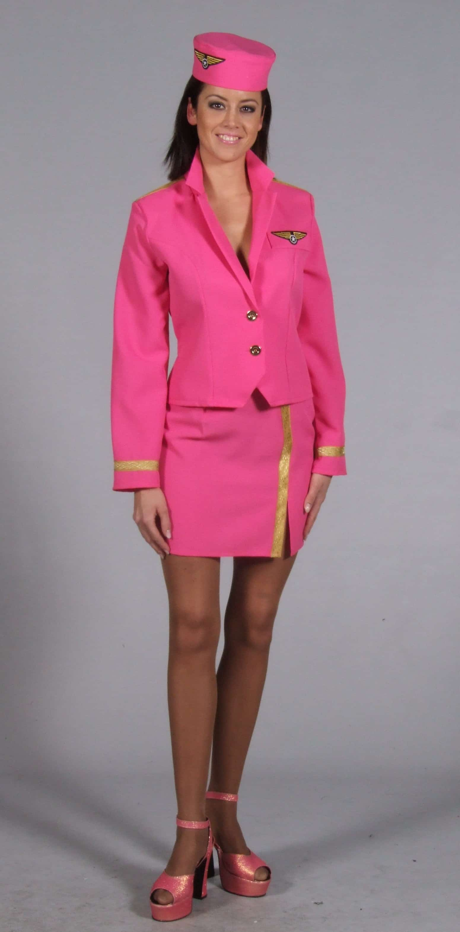 Pretty Pink Stewardess Costume