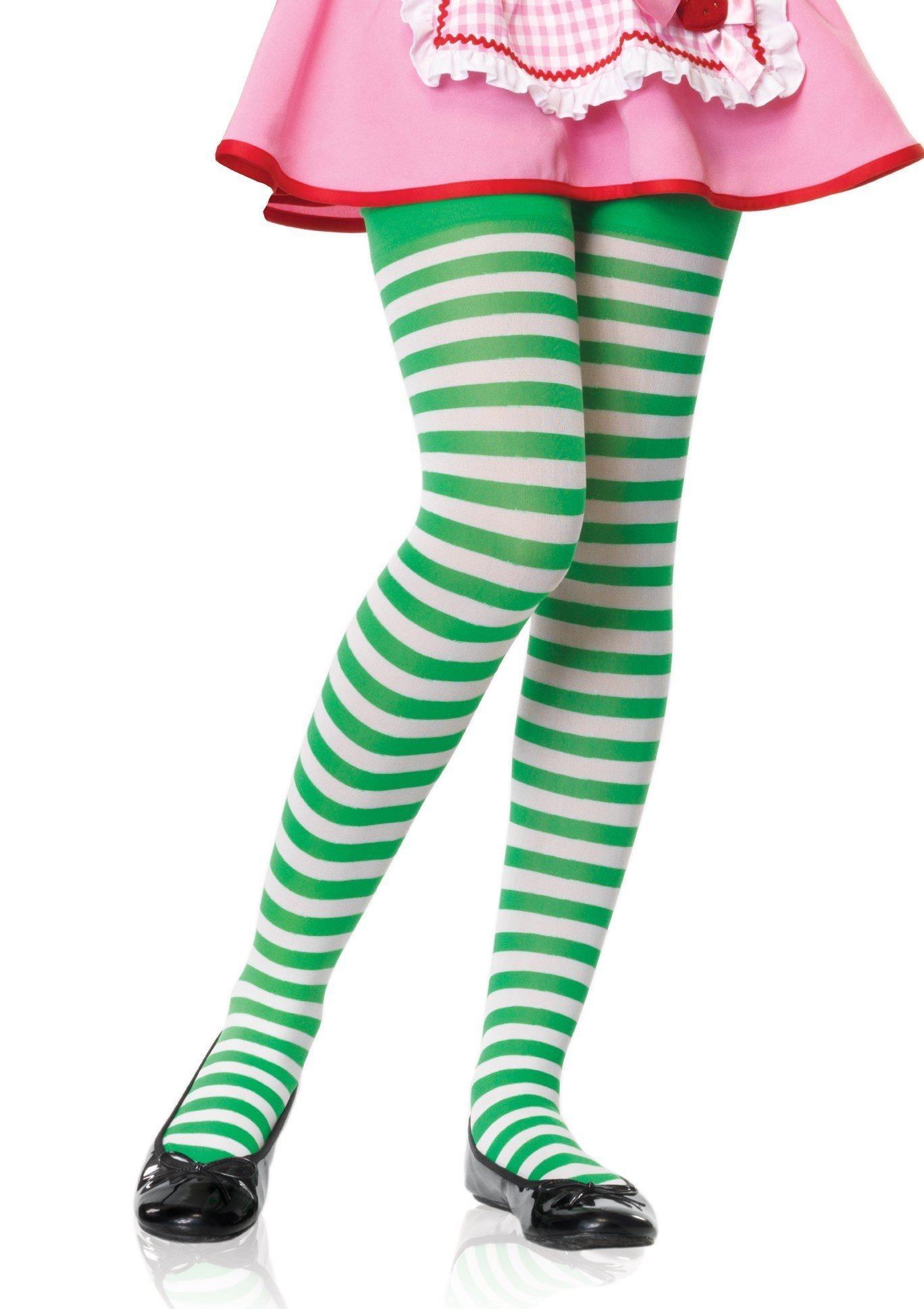 Girl Stripe Tights White Green