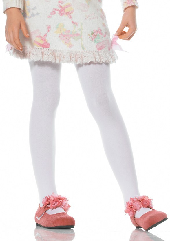 Girls Opaque Tights White