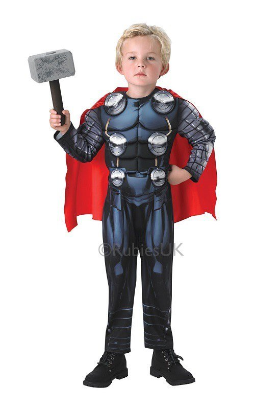 The Thor Dress Up costume includes a jumpsuit with muscle torso and arms, a detachable cape and a wrist communicator. The hammer and other accessories must be purchased separately. This child Dress Up costume is made of percent polyester material.5/5(5).
