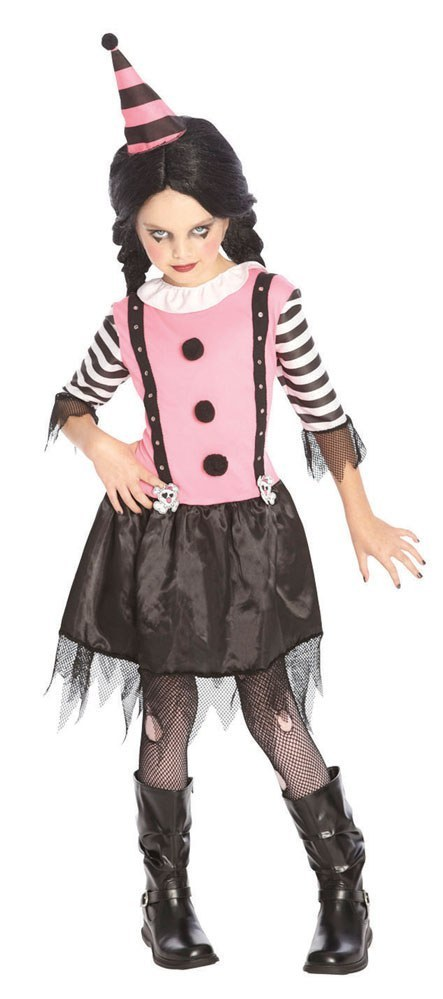 Girls Goth Clown Costume