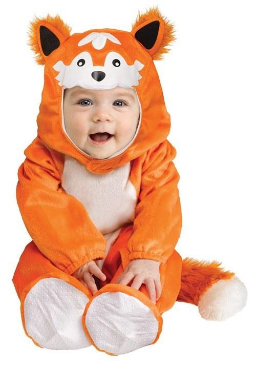 Kids Brown Furry Fox Animal Jumpsuit Boys Girls Childs Fancy Dress Costume