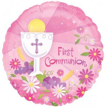 Pink First Communion Foil Balloon