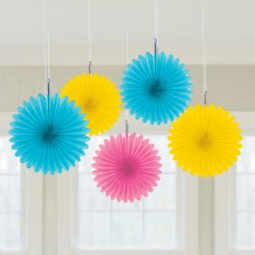 Pink Hanging Fan Decoration - 12 Pack