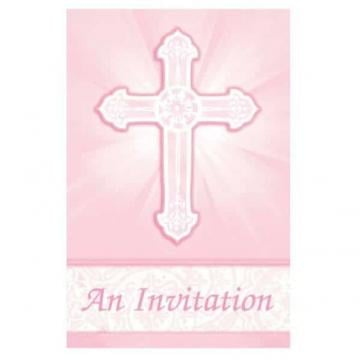 Radiant Cross Pink Folded Invitations