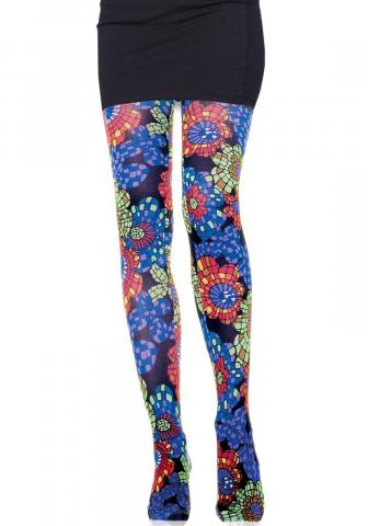 Kaleidoscope Flower Print Tights