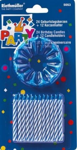 Blue Birthday Candles - 24 Pack