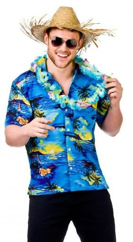 Hawaiian Shirt - Blue Palm Trees