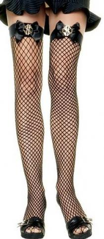 Net Stockings With Bow & Dollar Sign