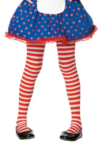 Girl Striped Tights - Red/White
