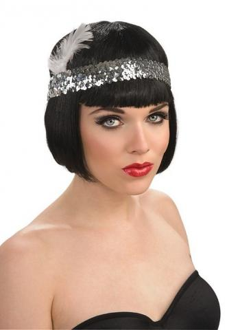 sequin headband silver