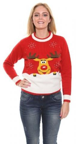 Ladies Rudolph Jumper - Red