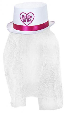 Bride To Be Top Hat With Veil