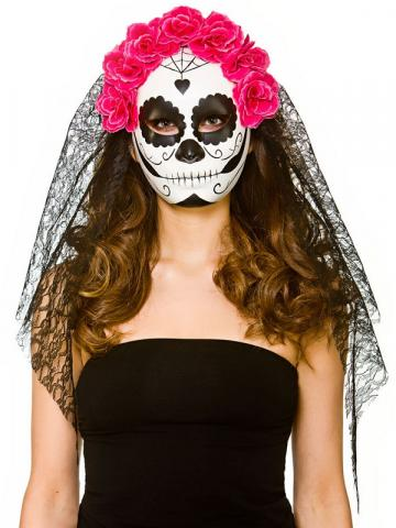 Day Of The Dead Mask With Veil