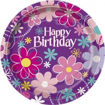 Purple Happy Birthday Plates - 8 Pack