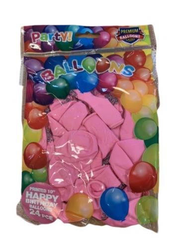 "10"" Happy Birthday Pink Latex Balloons - 24 pack"