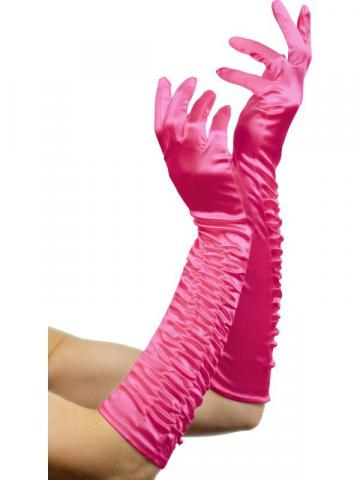 Temptress Satin Gloves - Hot Pink