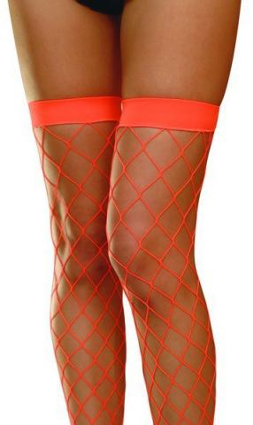 Neon Orange Large Diamond Fishnet Tights