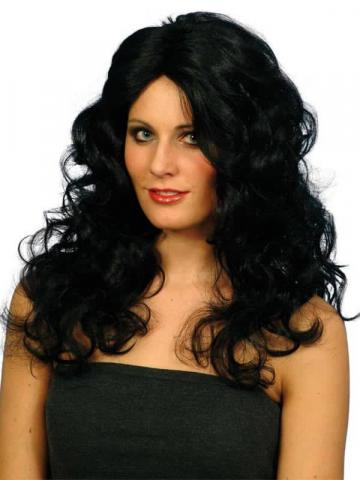 long curly black wigs