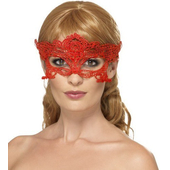 Embroidered Lace Filigree Heart Eyemask - red
