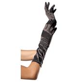 Elbow Length Satin Gloves - Black