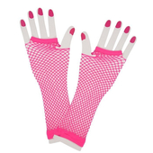 Neon pink fishnet gloves