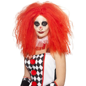 crimped clown wig - red