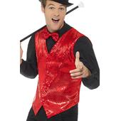 red sequin waistcoat