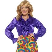satin ruffle shirt - purple