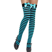 Blue Striped Stockings with Black Bow