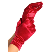 Wrist Length Satin Gloves - Red