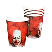 Horror Clown Paper Cups - 6 Pack