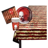 6 Person Horror Clown Party Table Set