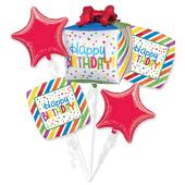 Happy Birthday Present Foil Balloon Bouquets