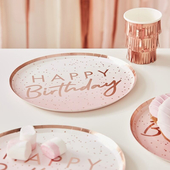 Rose Gold Ombre Paper Happy Birthday Plates - 8 Pack