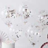 Rose Gold Confetti Balloons - 5 Pack