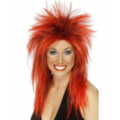 Rock Diva Wig - Red/Black