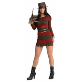 Ms Krueger costume includes short red striped dress, glove and hat.