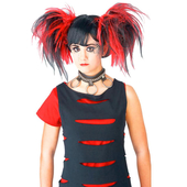 Goth Cheerleader Wig - Black/Red