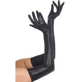 Wet Look Black Gloves