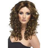 long curls wig brown