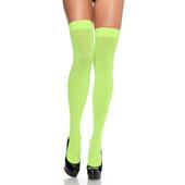 Nylon Thigh High Stockings - neon green
