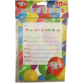 Balloon Print Party Invitations - 20 Pack