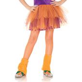Girls Fishnet Tights - Neon Orange