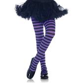 Girl Striped Tights - Black/Purple